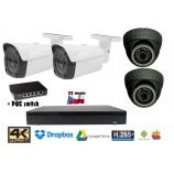 Kamerový set 8MPx 4K H265 IP EXIR 2x dome + 2x bullet kamer + 4K 32CH NVR 3108 s CZ menu + POE switch 4+1