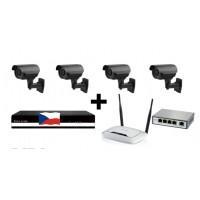 Kamerový 4MPx IP set, 4x MHK N701LP FULL HD, vari + NVR2404 + router + POE switch 4 + 1
