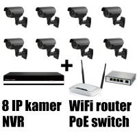 Kamerový IP set, 8x MHK N701LP FULL HD, vari + NVR6109F + router + POE switch 8 + 1